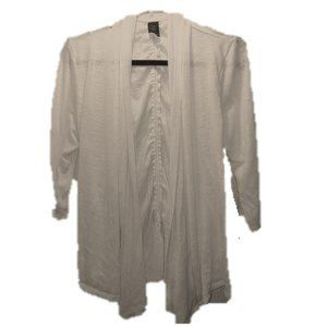 Wrapper White Open Front Cardigan Rouged back